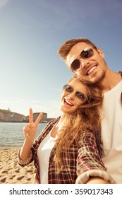 Funny selfie of couple in love
