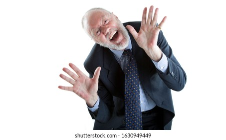 Funny senior man as Teacher or Salesman is feeling happy and satisfied on white background