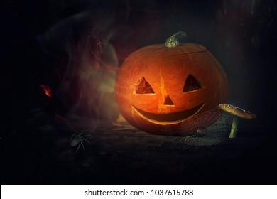 Funny shining pumpkin, halloween theme