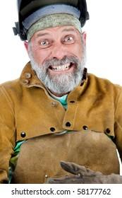 Funny shot of man in welding gear