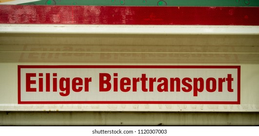 Funny sign in german on a truck saying urgent beer delivery