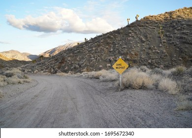 A funny sign indicating a rough road ahead on a dirt road outside of Death Valley.