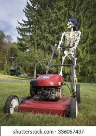 Funny Skeleton Pushing a Lawnmower