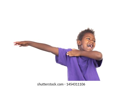Funny small child extending his arms isolated on a white background