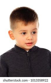Funny small child isolated on a white background