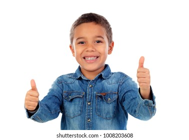 Funny small child saying Ok isolated on white background