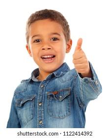Funny small child saying Ok isolated on white background