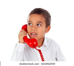 Funny small child talking on the phone isolated on a white background
