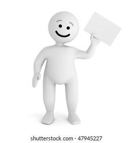 Funny smile character with blank paper