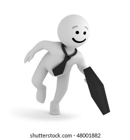 Funny smile character businessman with briefcase