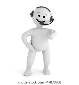 Funny smile character with headphone