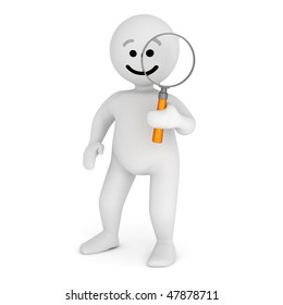 Funny smile character with magnifier