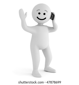 Funny smile character with mobile phone