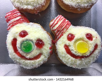 funny smiley clown cakes, closeup top view