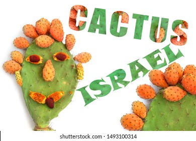 Funny smiling face created of ripe exotic fruit prickly pear and lychee. Opuntia cactus with large flat pads and red thorny edible fruits. Words Israel and Cactus made of photo Sabra cacti. Isolated