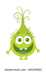 Funny smiling germ. Green cartoon character with big eyes. Happy monster with tooth. Bacteria with hands and open mouth. funny illustration in flat style design. Friendly virus. Microbe face