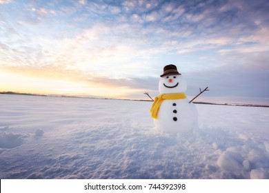 Funny snowman in black hat and yellow scalf on snowy field. Merry Christmass and happy New Year!