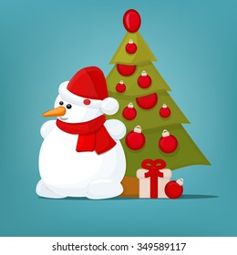Funny snowman with christmas tree