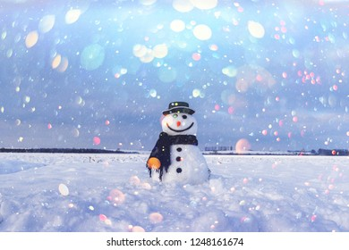 Funny snowman in stylish hat and black scalf on snowy field. DOF bokeh light postprocessing effect. Christmas holiday collage