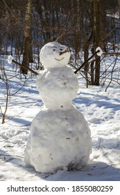 Funny snowman in the woods on a winter day