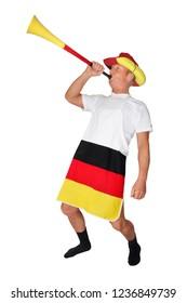 funny soccer fan with vuvuzela
