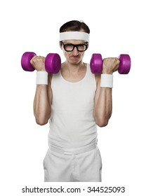 Funny sport nerd lifting weights isolated on white background