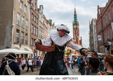Funny street actor in Gdansk, Poland during the st.Dominic's fair - July 2015