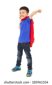 funny superhero kid pointing and making a fist