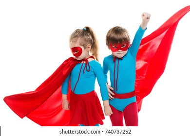 Funny superheroes. Children playing superheroes  isolated. Dreamers.