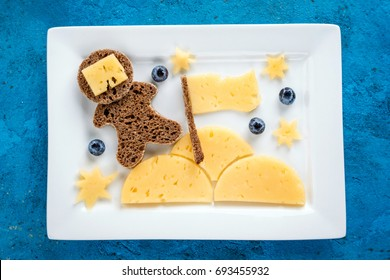 Funny toast with cheese and berries for kids breakfast or lunch