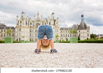 Funny toddler blond child, boy, playing on the premises of Chambord castle on Loire valley in France on a summer day
