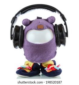 Funny toy hero with headphones