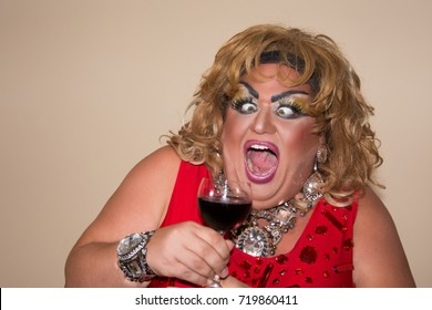 Funny travesty actor. Drag queen.