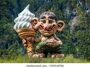 funny troll with ice cream in Norway
