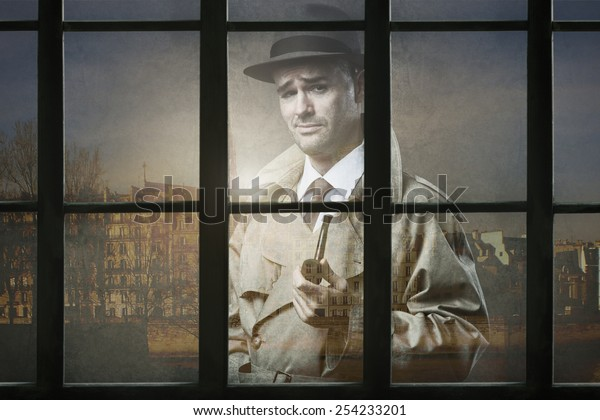 Funny Vintage Investigator Trench Coat Holding Stock Photo (Edit Now