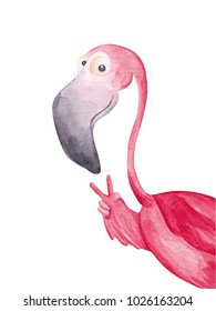 Funny watercolor flamingo showing peace sign