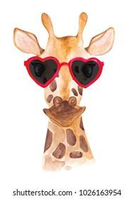 Funny watercolor giraffe in sunglasses