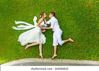 Funny wedding games on a grass