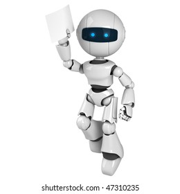 Funny white robot jump with document