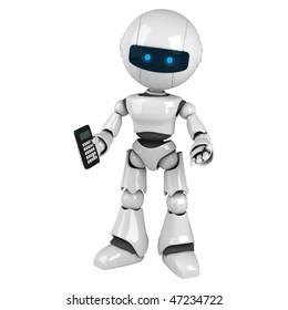 Funny white robot stay with calculator