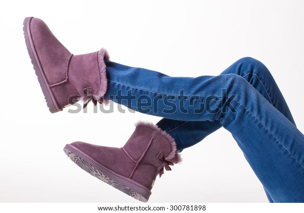 Funny Winter Boots Girl Jeans Fur Stock Photo (Edit Now