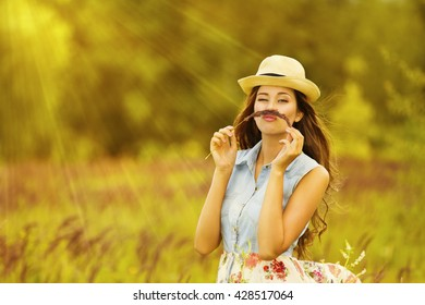 Funny Woman Outdoor Portrait, Young Girl in Summer Meadow Field, Mustache Grass