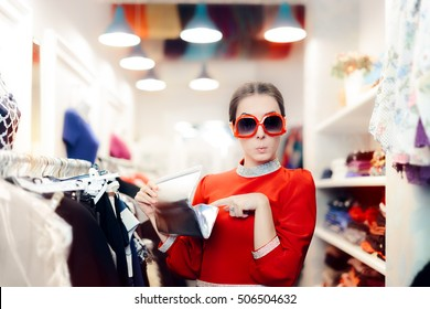 Funny Woman with Oversized Sunglasses and Silver Clutch Bag - Surprised diva searching for money in her purse