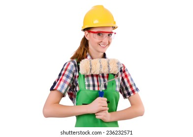 Funny woman painter in construction concept isolated on white