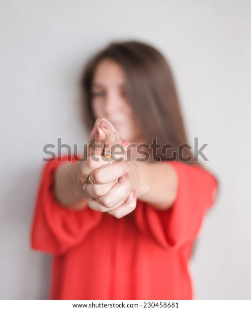 Funny woman pointing you