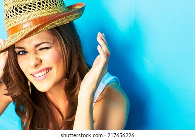 funny woman portrait on blue background