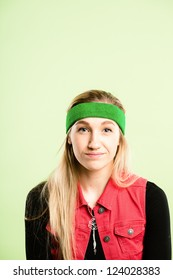 funny woman portrait real people high definition green background