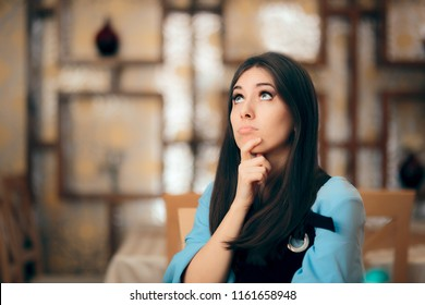 Funny Woman Thinking Hard How to Resolve a Problem. Pensive girl trying to find the right answer for her problem