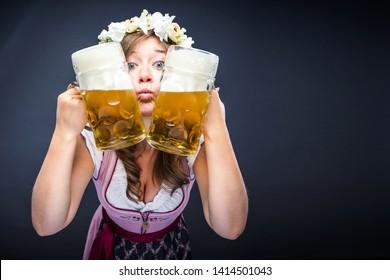 Funny women with oktoberfest Beer