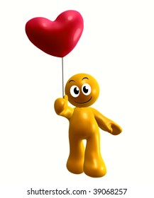 Funny yellow icon holding a heart balloon